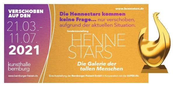 """""""Aufgeschoben ist nicht aufgehoben"""" – 28.03.-11.07.2021 – Die Sonderausstellung """"Hennestars-Die Galerie der tollen Menschen"""" wird verschoben"""